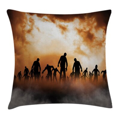 Halloween Decor Zombies Misty Square Pillow Cover Size: 18 x 18