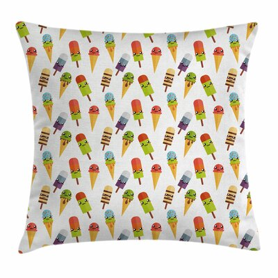 Ice Cream Colorful Yummy Square Pillow Cover Size: 18 x 18