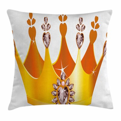 Cartoon Princess Crown Square Pillow Cover Size: 18 x 18