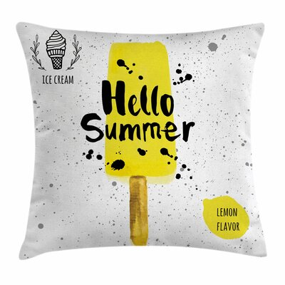 Ice Cream Lemon Flavor Square Pillow Cover Size: 18 x 18