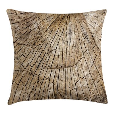 Timber Wooden Nature Forest Square Pillow Cover Size: 18 x 18