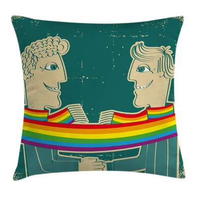 Gay Couple Scarf Square Pillow Cover Size: 16 x 16