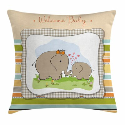 Elephant Mammal Family Square Pillow Cover Size: 18 x 18