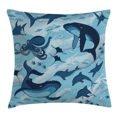 Dolphins Octopus Starfish Square Pillow Cover Size: 20 x 20