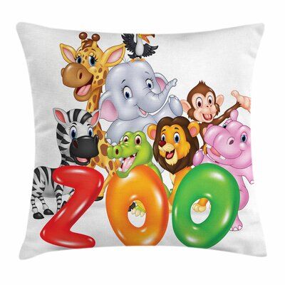 Zoo Word Zoo Happy Wildlife Square Pillow Cover Size: 18 x 18