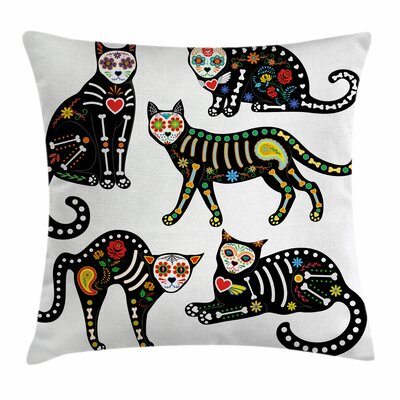 Sugar Skull Ornate Cats Square Pillow Cover Size: 16 x 16