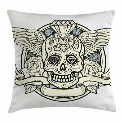 Sugar Skull Calavera Diamond Square Pillow Cover Size: 16 x 16