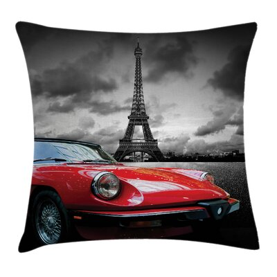 Romantic City Paris Square Pillow Cover Size: 24 x 24