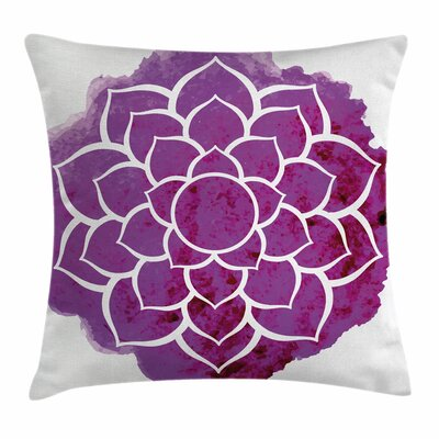 Mandala Watercolor Lotus Square Pillow Cover Size: 18 x 18