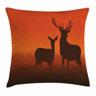 Deer Doe Autumn Square Pillow Cover Size: 24