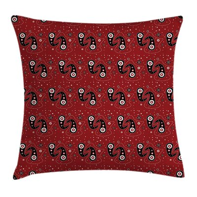 Paisley Flowers Dots Square Pillow Cover Size: 18 x 18