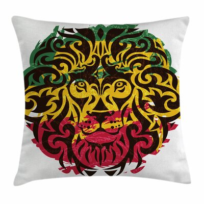 Rasta Ethiopian Wild Lion Head Square Pillow Cover Size: 18 x 18