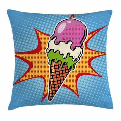 Ice Cream Retro Cone Dots Square Pillow Cover Size: 24 x 24
