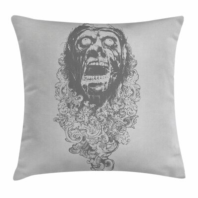 Zombie Decor Gothic Scary Man Square Pillow Cover Size: 24 x 24