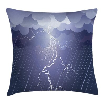 Thunderstorm Dark Clouds Square Pillow Cover Size: 24 x 24