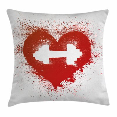 Fitness Heart Dumbbell Art Square Pillow Cover Size: 18 x 18
