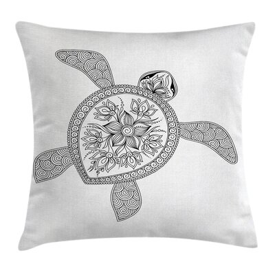 Turtle Figure Square Pillow Cover Size: 16 x 16