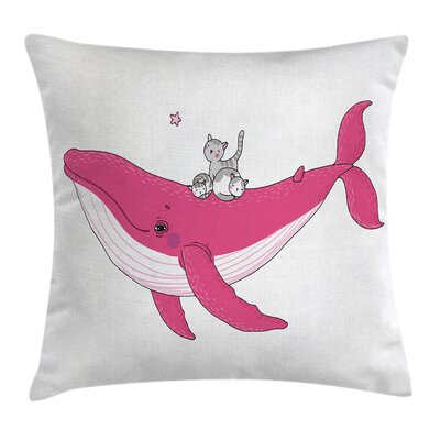 Three Cats Big Fish Magic Square Pillow Cover Size: 18 x 18