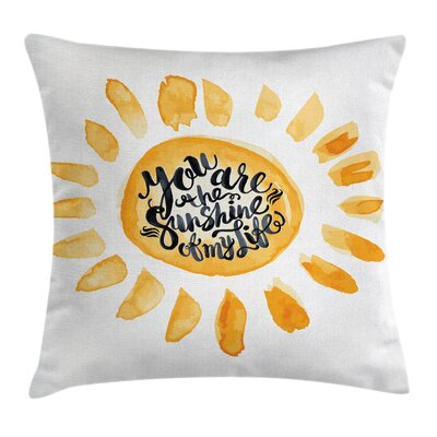 Watercolor Effect Sun Square Pillow Cover Size: 18 x 18
