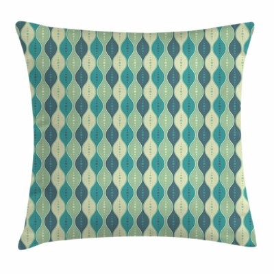 Abstract Oval Curved Lines Dots Square Pillow Cover Size: 20 x 20
