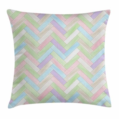 Pastel Parquet Herringbone Soft Square Pillow Cover Size: 18 x 18