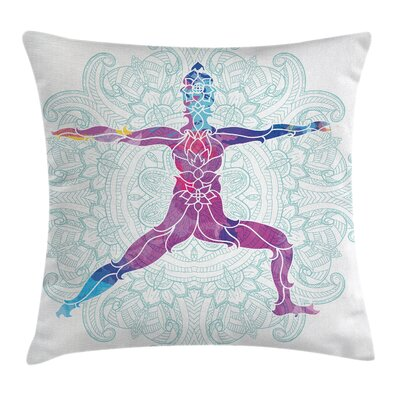 Yoga Mandala Boho Meditation Square Pillow Cover Size: 16 x 16