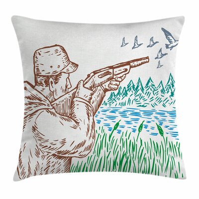 Hunter Geese Lake Square Pillow Cover Size: 16 x 16
