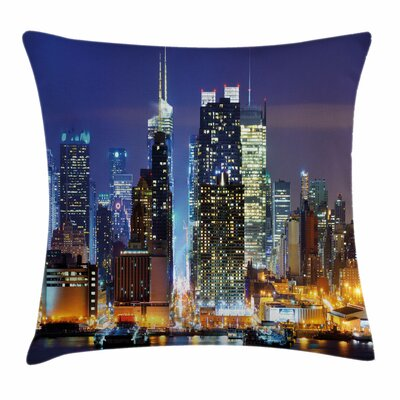 United States Manhattan View Square Pillow Cover Size: 18 x 18