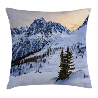 Nature Snowy Mountain Winter Square Pillow Cover Size: 24 x 24
