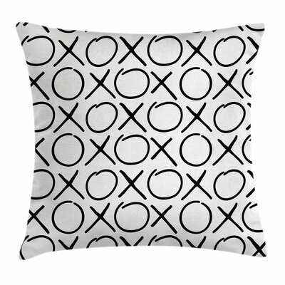 Xo Decor Doodles Monochrome Square Pillow Cover Size: 16 x 16