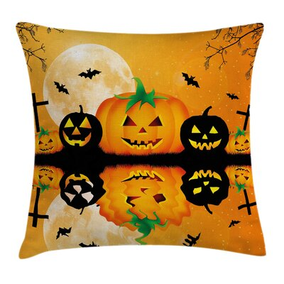 Halloween Decor Scary Pumpkin Square Pillow Cover Size: 20 x 20