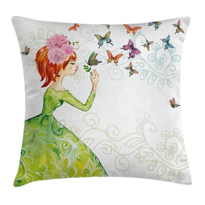 Butterfly Cartoon Lady Square Pillow Cover Size: 20 x 20