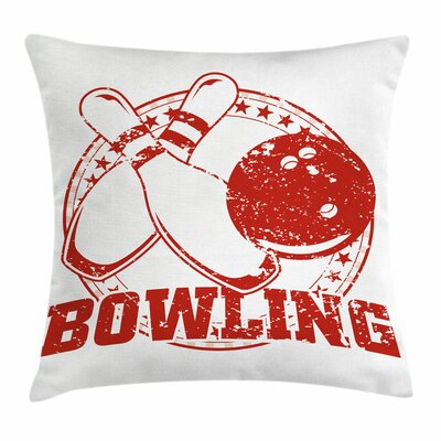 Bowling Grunge Vintage Emblem Square Pillow Cover Size: 24 x 24