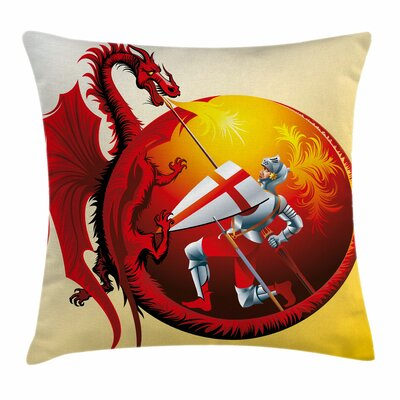 Dragon Saint George Fire Spit Square Pillow Cover Size: 24 x 24