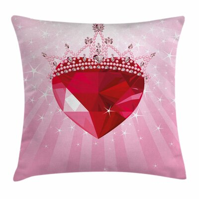 Heart Crown Girls Square Pillow Cover Size: 18 x 18