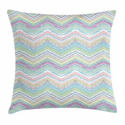 Pastel Chevron Tribal Ethnic Square Pillow Cover Size: 16 x 16