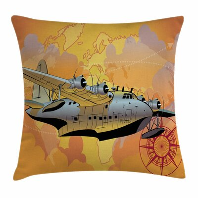 Vintage Airplane Retro Seaplane Square Pillow Cover Size: 24 x 24