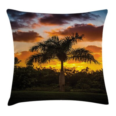 Tropical Exotic Tree at Sunset Square Pillow Cover Size: 24 x 24