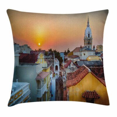 Sunset Rooftops Old City Coast Square Pillow Cover Size: 18 x 18