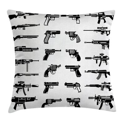 Fabric Case Guns Riffles War Combat Square Pillow Cover Size: 18 x 18