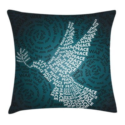 Fabric Case Dove Symbol with Peace Square Pillow Cover Size: 16 x 16