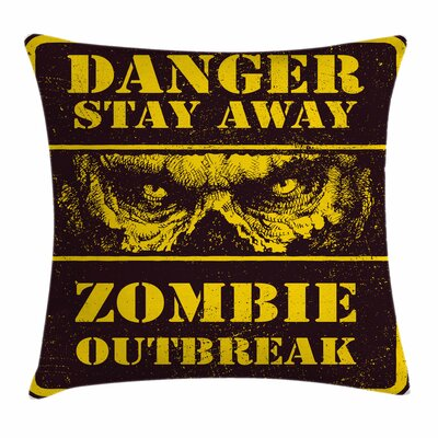 Zombie Decor Monster Warning Square Pillow Cover Size: 24 x 24