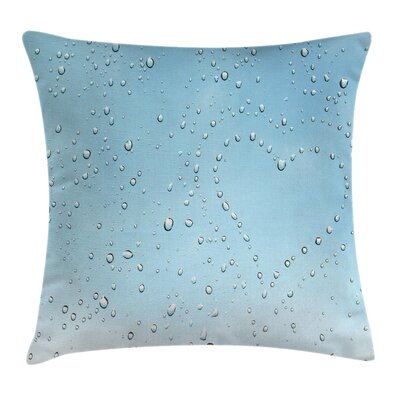 Heart from Droplets Rain Square Pillow Cover Size: 18 x 18