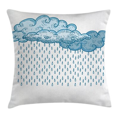 Rain Cloud Sketch Fall Square Pillow Cover Size: 16