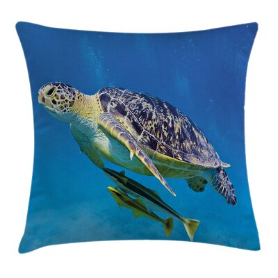 Turtle Fishes Swimming Ocean Square Pillow Cover Size: 16 x 16
