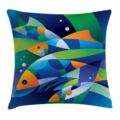 Art Fishes Underwater Square Pillow Cover Size: 16 x 16