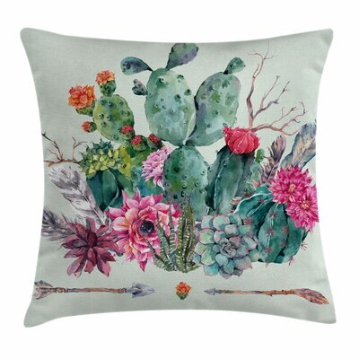 Cactus Thorny Blossoms Square Pillow Cover Size: 16 x 16
