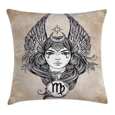 Hand Drawn Astrological Square Pillow Cover Size: 16 x 16