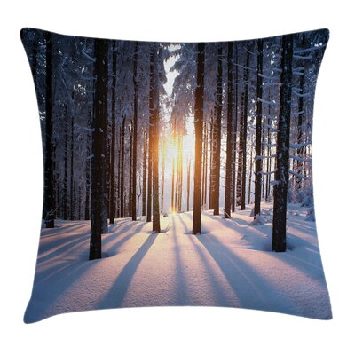 Forest Sunset at Wintertime Square Pillow Cover Size: 20 x 20