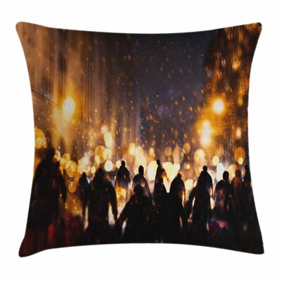 Zombie Decor Burning Town Chaos Square Pillow Cover Size: 16 x 16